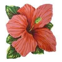 Vintage Cotton Print Die-Cut Style Flower Hibiscus Hanky Handkerchief