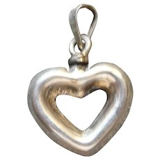 Miniature Sterling Silver Perfume Bottle Charm in the shape of a Heart