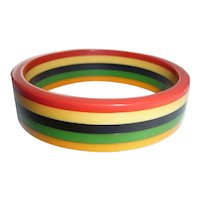 Bakelite 5 Colors Striped Laminated Bangle Bracelet