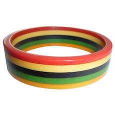 Bakelite 5 Colors Striped Laminated Bangle Bracelet