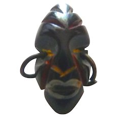 Gorgeous & Rare Chunky Small BAKELITE African Mask Button