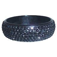 Wide Bold Lucite Acrylic Black Rhinestone Sparkle Bangle Bracelet