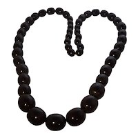 Gorgeous Very Long Jet Black Bakelite Graduated Bead Necklace