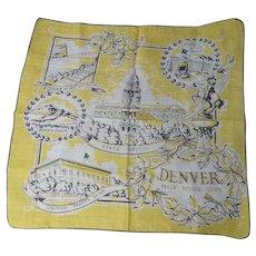 Vintage Souvenir Hanky Denver, Colorado