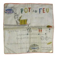 Fun Picture Hanky Handkerchief * French Recipe  Pot Au Feu*