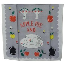 Vintage Linen Kitchen Tea Dish Towel Apple Pie & Tea