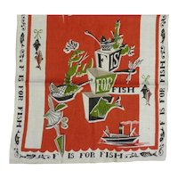 Vintage Linen Kitchen Tea Dish Towel F is For Fish