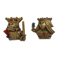 Coro Jeweled King and Queen Pin Set