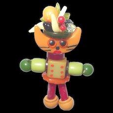Bakelite Button Bead Crib Toy Carmen Cat Doll Charm Pendant with Fruit Hat