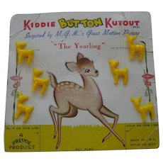 1950s Figural KIDDIE KUTOUT Buttons on Original Card Great Graphics! DEER