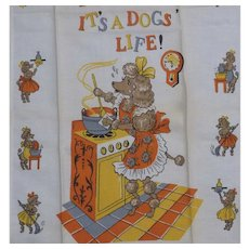 "Vintage Linen Kitchen Towel Mint Lady Poodle ""IT'S A DOGS' LIFE"""