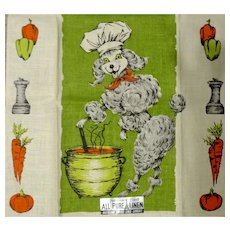 Vintage Linen Kitchen Towel Mint Happy Chef Man Poodle