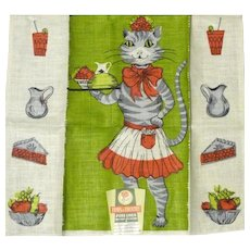 Vintage Linen Kitchen Towel Mint with Tag Lady Cat Serves You!