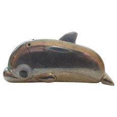 Unusual Vintage Figural Dolphin, Whale or Fish Shaped Match Safe Or Lighter Holder