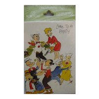 Vintage Norcross Cartoon Characters Party Invitations Popeye Blondie MIP