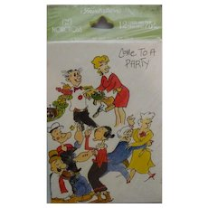 Vintage Norcross Cartoon Characters Party Invitations Popeye Blondie MIP