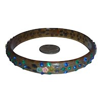 Rare Apple Juice Celluloid 2 Color Sparkle Rhinestone Bangle Bracelet with Painted Applied Flowers