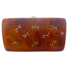 "1950s Elegant Lucite Clutch Purse Etched with Rhinestone Bees Original ""ILENE"" Tag"