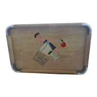 Mid-Century Vintage 50s NEVCO Cocktail Serving Tray DRY MARTINI Recipe Wood w/Metal Corners