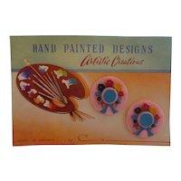 Vintage (hard to find) Pink Plastic Hat Barrettes Mint Original Card England