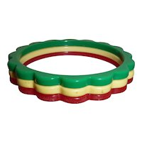 Art Deco Vintage Scalloped Daisy Bakelite Bangle Bracelet Stack Lot