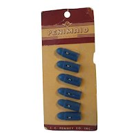 6 Vintage Plastic Realistic Goofy Bullet Buttons on Original Card