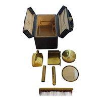 Rare! Small Ladies Travel Cosmetic Case Necessaire Perfume Lipstick Compact etc. 4x3x3 in.