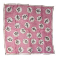 Vintage Handkerchief Hanky Pink Elephants 1950s