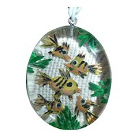 Outstanding Clear Lucite Reverse Carved 5 Fish Pendant Necklace