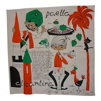 Vintage Linen Picture Kitchen Towel Paella Recipe