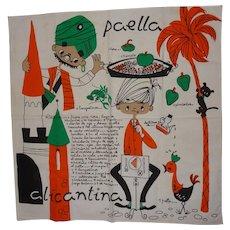 Vintage Linen Picture Kitchen Towel Paella Recipe