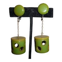 Gorgeous! Bakelite Vintage Mid-Century Unique Geometric Swiss Cheese Dangle Clip-on Earrings