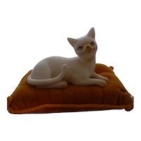 Vintage Collectible Figural Pin Cushion ~ White Porcelain Cat on Pillow