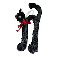 Rare Vintage XL Chenille Pipe Cleaner Halloween Black Cat Arched Back  Japan Ornament