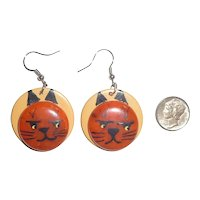 Bakelite Earrings Halloween Cat Cats Kitty Kittens Orange, Black & Cream