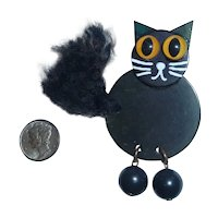 Roly Poly HALLOWEEN Black Bakelite Kitty Cat Pin Brooch