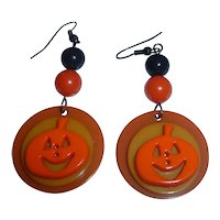 Bakelite & Plastic Halloween Pumpkin JOL Earrings Orange Yellow Black