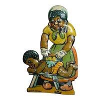 RARE Vintage Metal Tin CLICKER Toy BLack Mother Washing Little Boy