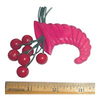 Gorgeous Bakelite Cornucopia & Cherries Pin Brooch Pink Red