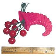 Gorgeous Bakelite Cornucopia & Cherries Pin Brooch Pink Red