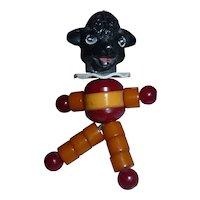 Super RARE Vintage Bakelite Crib Toy Cribtoy Tykie Toy Co. Piqua Ohio BLACK LAMB