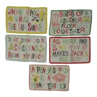 Set of 5 Vintage Idiom Cocktail Napkins signed Carl Tait