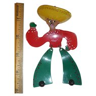 Articulated Lucite XL Dancing Mexican Man with Sombrero Pin Brooch