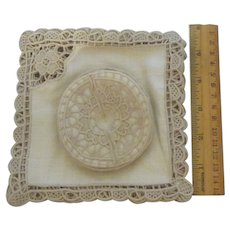12 Vintage Ecru Linen Lacy Cut-Out Cocktail Napkins & Coasters Mint