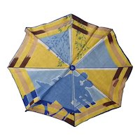 Rare Vintage Handkerchief Hankie Woman & Man (Lovers!) Under An Umbrella at the Park
