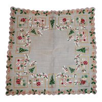 Vintage Cotton Print Christmas Design Trees Ornaments Hanky Handkerchief
