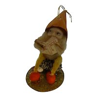 Authentic Vintage Multi-material Chenille Pipe Cleaner Christmas Ornament Elf Gnome Pixie