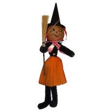 Halloween Crepe Paper & Chenille Witch Decoration Orange & Black