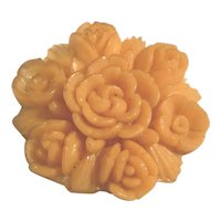 3 Beautiful Celluloid Molded Realistic Figural Flower Buttons