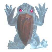 Vintage Lucite and Wood Leaping Frog Pin Brooch